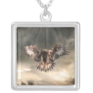 Golden Eagle Square Pendant Necklace