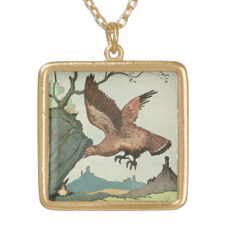 Golden Eagle Story Book Alphabet Gold Plated Necklace