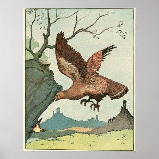 Golden Eagle Story Book Illustration Poster