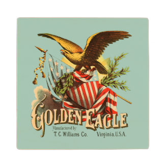 Golden Eagle Tobacco Patriotic Antique Advertising Wood Coaster
