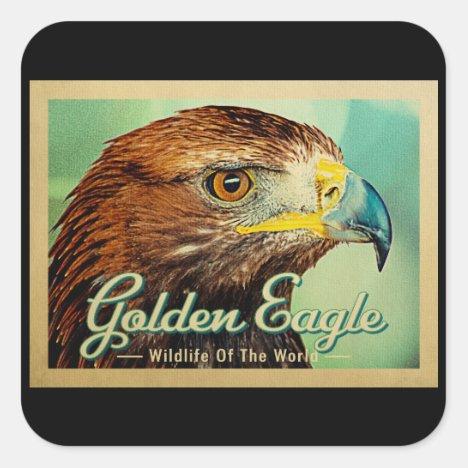 Golden Eagle - Wildlife of the World Bird Square Sticker