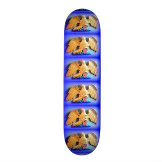 golden eagles on blue skateboard