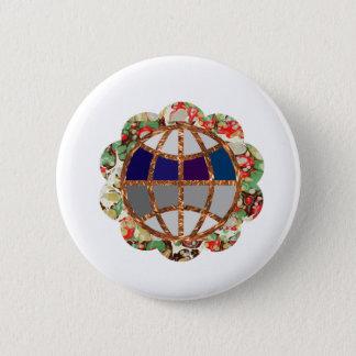 Golden EARTH - Globe Beads Jewels Border Pinback Button