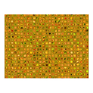 Golden Earth Tones Textured Mosaic Tiles Pattern Postcard