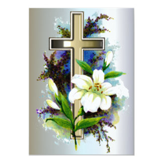 Golden Easter Cross and White Lilly Flowers Card