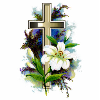 Golden Easter Cross and White Lilly Flowers Photo Cutouts