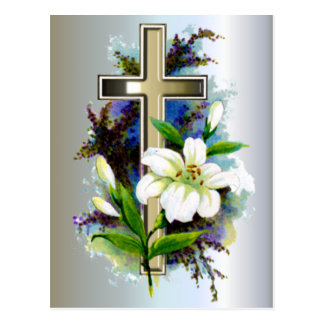 Golden Easter Cross and White Lilly Flowers Postcard