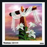 """Golden Easter Cross and White Lilly Flowers Wall Sticker<br><div class=""""desc"""">Golden Easter Cross and White Lilly Flowers printed on various gift items.  Great for the holiday.  Christian image.  Insignia &quot;By Remi&quot;</div>"""