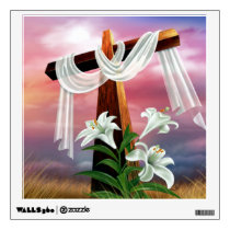 Golden Easter Cross and White Lilly Flowers Wall Sticker