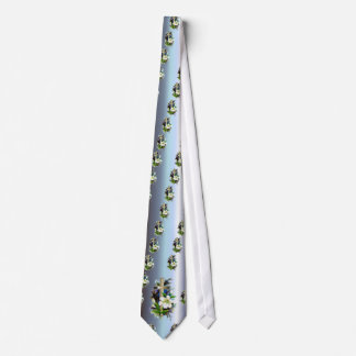 Golden Easter Cross - White Lilly Flowers - Blue Neck Tie