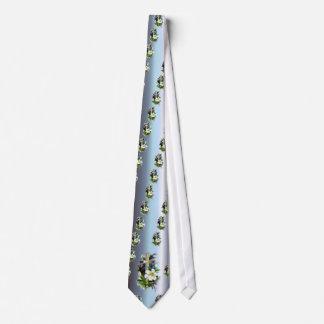 Golden Easter Cross - White Lilly Flowers - Blue Neck Tie