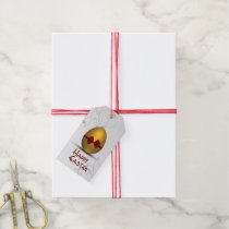 Golden Easter Egg  with Bow - Gift Tag