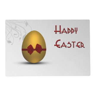 Golden Easter Egg  with Bow - Laminated Placemat