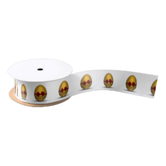 Golden Easter Eggs with Bow - Ribbon Satin Ribbon