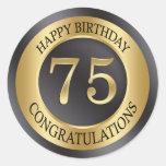 Golden effect 75th Birthday Classic Round Sticker