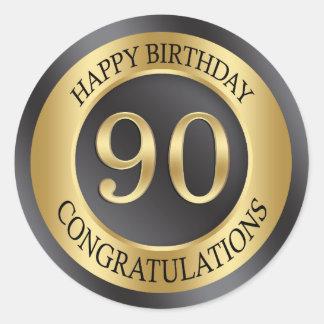 Golden effect 90th Birthday Classic Round Sticker
