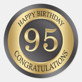 Golden effect 95th Birthday Classic Round Sticker