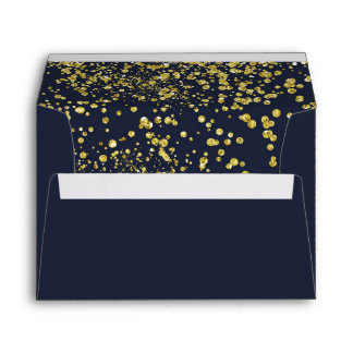 Golden effect confetti on dark blue A7 Envelope