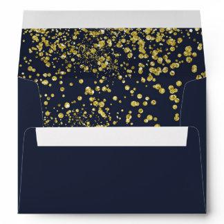 Golden effect confetti on dark blue A7 Envelope