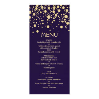 Golden effect confetti on violet Menu Card