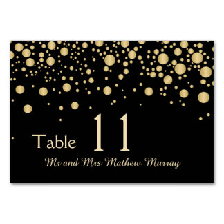 Golden effect confetti Table Number Place card