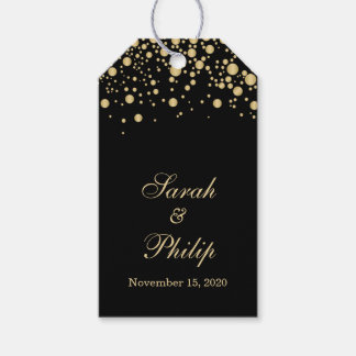 Golden effect confetti Wedding Thank you Gift tag