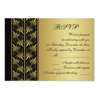 Golden effect damask on black Wedding RSVP Card