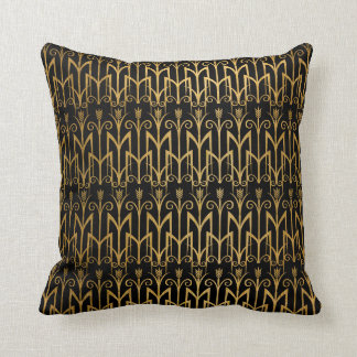 Golden Egyptian Wheat Color Barley Art Deco Throw Pillow