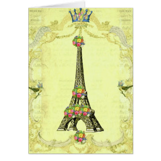 Golden Eiffel Tower and Royal Birds Card