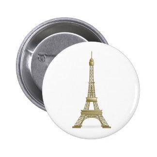 Golden Eiffel Tower Pinback Button