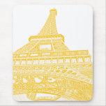 Golden Eiffel Tower Design Mouse Pad