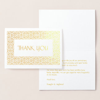 "Golden Elegance  All-Occasion ""Thank You"" Foil Card"