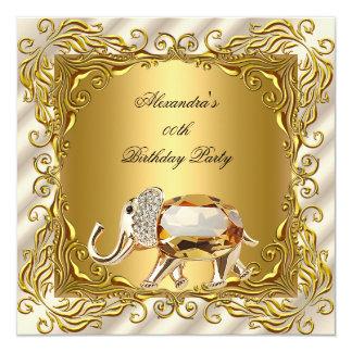 Golden Elephant Elite Cream Gold Birthday Party Card