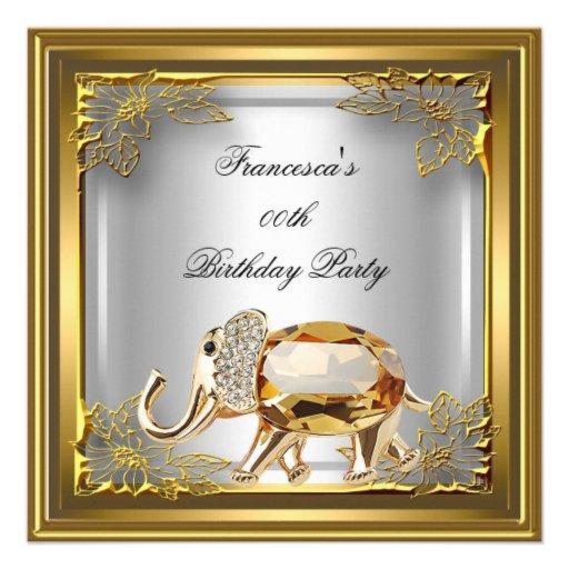 Golden Elephant Elite Elegant Birthday Party White Custom Announcement