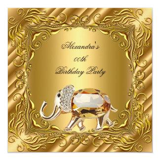Golden Elephant Elite Elegant Gold Birthday Party Card