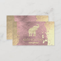 golden elephant on rose gold paint stroke business card