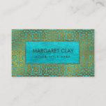 Golden Embossed Celtic Pattern on blue wood Business Card