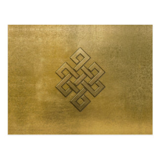 Golden Embossed Endless Knot Postcard
