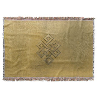 Golden Embossed Endless Knot Throw