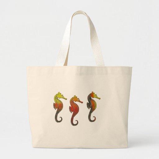 Golden Enameled Seahorses Canvas Bag