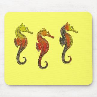 Golden Enameled Seahorses Mousepad
