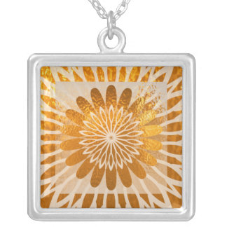 Golden Energy Diamond Waves Square Pendant Necklace
