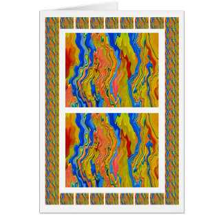 Golden Energy Waves 3D Engraved Art Card