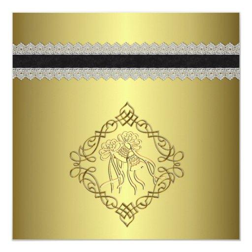 Golden Engraved Look Wedding Card