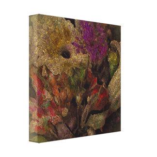 Golden Enhanced Flower Painting Canvas Print