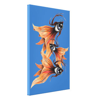 Golden Eye Surreal Goldfish Fantasy Art Any Color Canvas Print