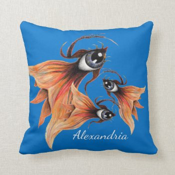 Golden Eye Surreal Goldfish Fantasy Art Custom Throw Pillow