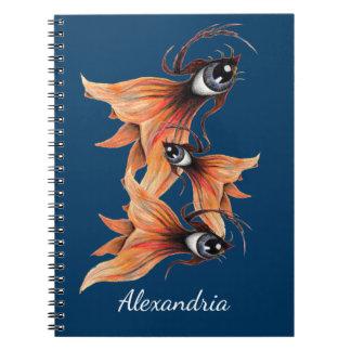 Golden Eye Surreal Goldfish Fantasy Art Your Name Notebook