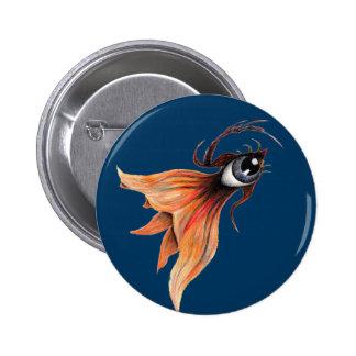 Golden Eye Surreal Goldfish Fantasy Original Art Pinback Button
