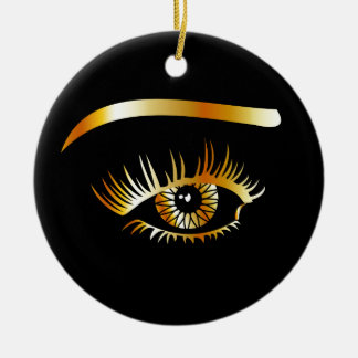 Golden eye with eyebrow and details inside ceramic ornament